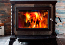 Stove burning with bright fire